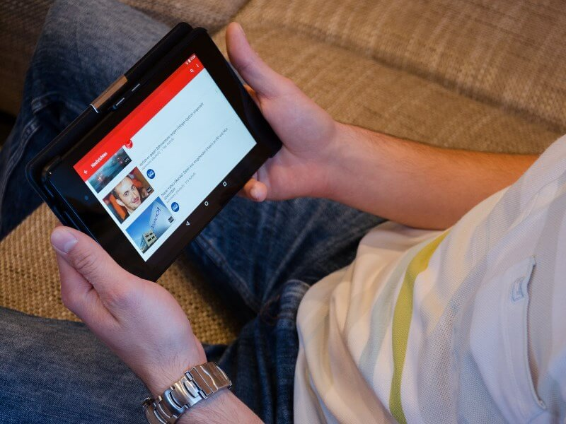 Watching YouTube on tablet