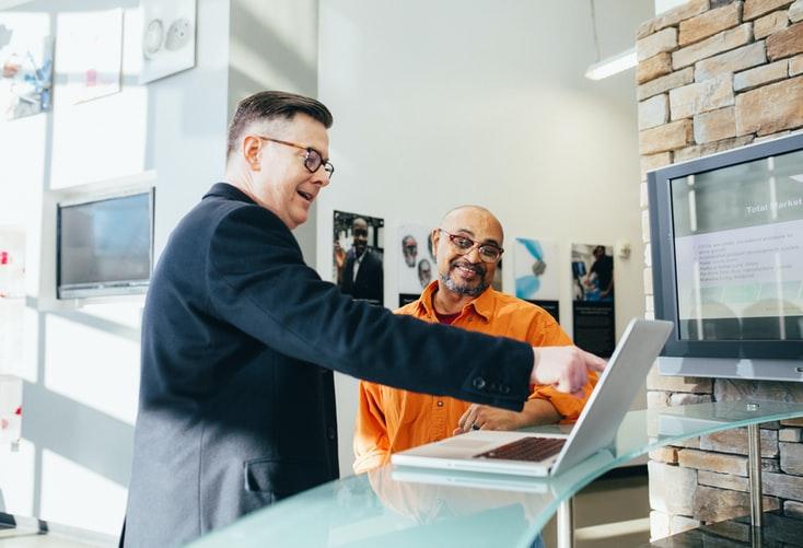 salesman talking to a prospected customer